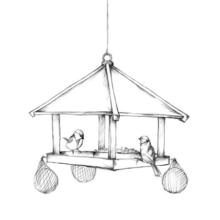 Illustration of a Hanging bird feeder with some birds Фото со стока