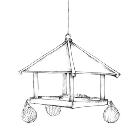 Illustration of a Hanging bird feeder