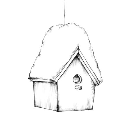 Illustration of a small bird house with snow on the roof Фото со стока