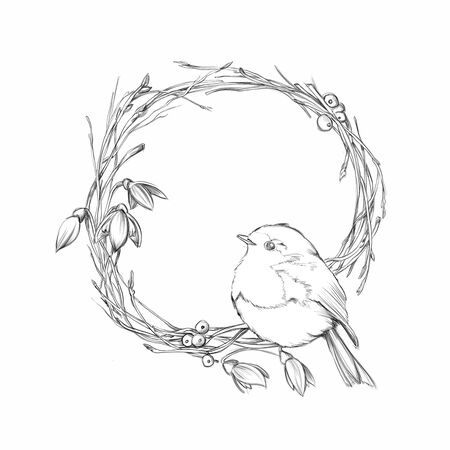 Illustration of a robin sits in the wreath of branches and snowdrops Фото со стока