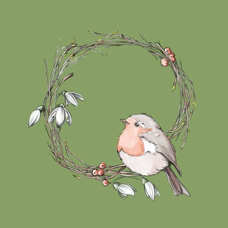 Illustration of a robin in a wreath of branches and snowdrops