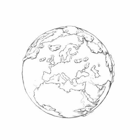 Handmade Illustration of planet Earth Stock fotó