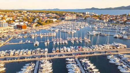 Aerial View of Yacht Club and Marina in Croatia, Biograd na moru 스톡 콘텐츠