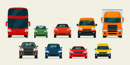 Big set of different models of cars. Vector flat style illustration.