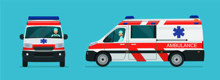 Ambulance van car two angle set. Car with driver man side view and front view. Vector flat style illustration.