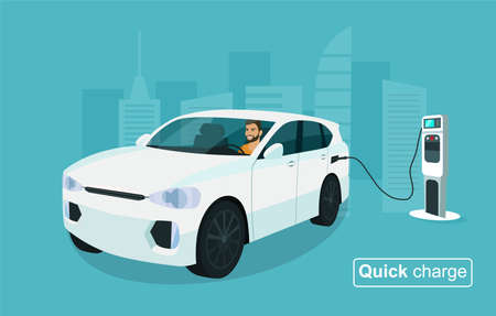 Electric CUV car with a man driving. Electric car is connected to quick charge. Vector illustration.