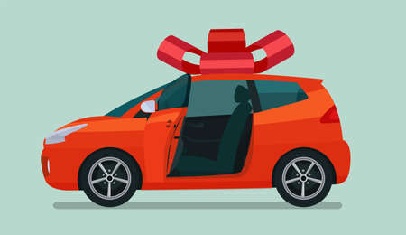 New compact hatchback car as a gift. Vector flat style illustration.