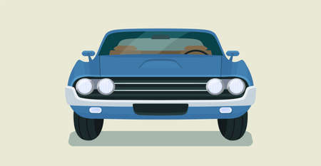 Classic vintage retro car isolated. Front view. Vector flat style illustration