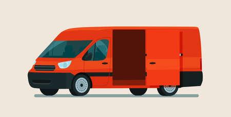 Empty cargo van car with open cargo door. Vector flat style illustration.