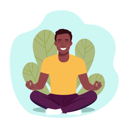 Young man doing yoga. Man relaxing in the lotus position. Illustration