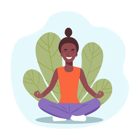 Young afro American woman doing yoga. Woman relaxing in the lotus position. Vector flat illustration. 일러스트