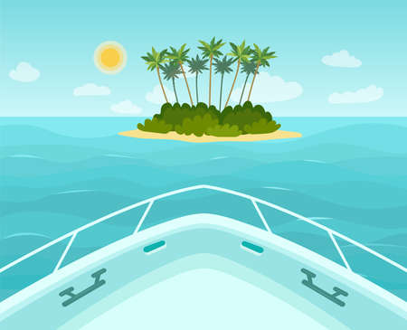 The boat approaches a tropical island in the sea. View from the bow of the boat. Vector flat style illustration.