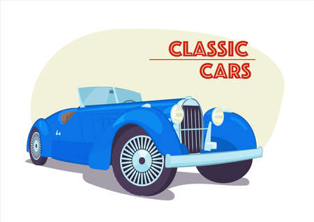 Retro convertible car. Picture with the inscription. Vector illustration