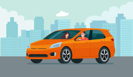 CUV car with a young man and woman driving on a background of abstract cityscape. Vector flat style illustration. 矢量图像