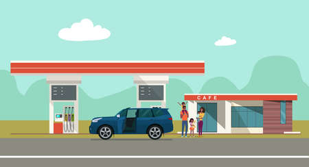 Gas station on the background of the countryside landscape and a car with african family. Vector flat style illustration.  イラスト・ベクター素材