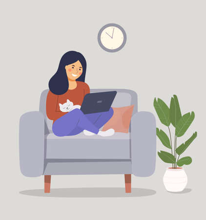 Young woman is relaxing on comfortable chair and using laptop. Vector flat illustration Ilustración de vector