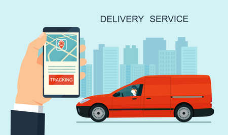 Delivery service app on smartphone. Cargo van and delivery worker in medical mask. Tracking an order using his smartphone. Abstract cityscape in the background. Concept for logistics and technology.