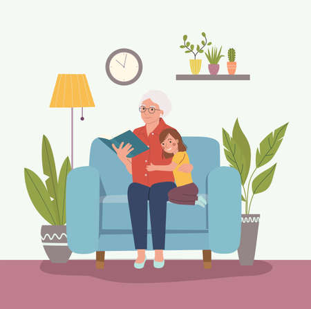 Grandmother is reading a book to her granddaughter. Grandmother and granddaughter are sitting in a chair. Vector flat cartoon style illustration 矢量图像