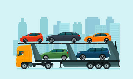 Car carrier loaded with various cars against the background of an abstract cityscape. Vector illustration.