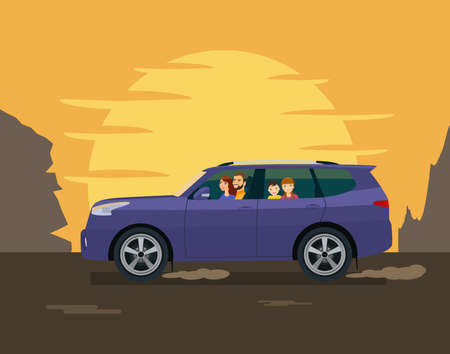 The family drives an SUV against the backdrop of the setting sun and mountains. Vector illustration in a flat style.