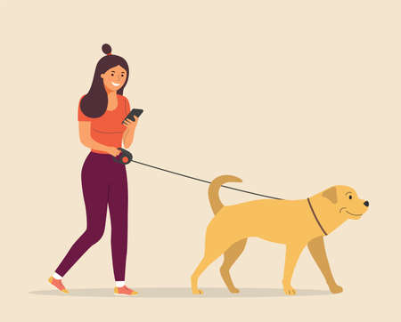 Woman is walks with a dog and looks into the smartphone. Vector flat cartoon style illustration