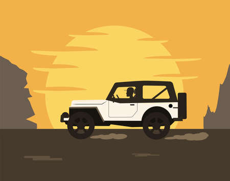 The man drives an SUV car against the backdrop of the setting sun and mountains. Vector illustration in a flat style.