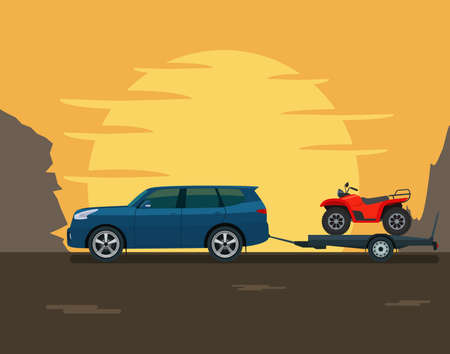 SUV car tows a trailer with a ATV against the backdrop of the setting sun and mountains. Vector flat style illustration. 일러스트