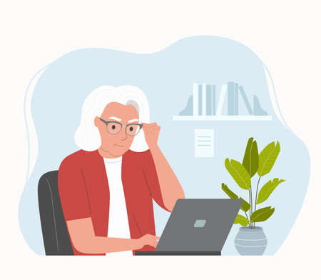 Elderly woman working at her office. Vector flat style illustration