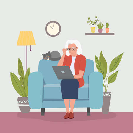 Grandmother on comfortable couch and using laptop at living room. Vector flat style illustration