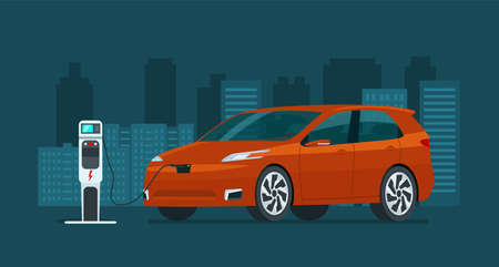 Electric CUV car in an abstract city. Electric car is charging. Vector flat style illustration.