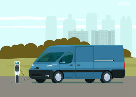 Electric cargo van against the background of an abstract cityscape. Electric car is charging. Vector flat style illustration.