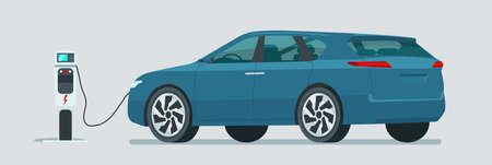 Modern electric CUV car is charging isolated. Vector flat style illustration.