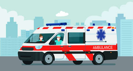 Ambulance van with a driver and doctor in a medical mask against the background of an abstract cityscape. Vector flat style illustration.