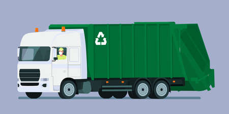 Garbage truck with driver in medical mask isolated. Vector flat style illustration. 向量圖像