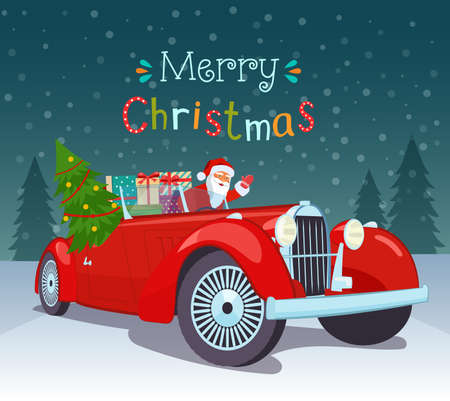 Merry Christmas stylized typography. Vintage red cabriolet with santa claus, christmas tree and gift boxes. Vector flat style illustration.