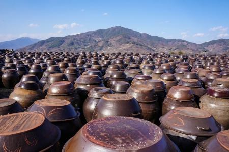 korean food: Kimchi Pots Stock Photo