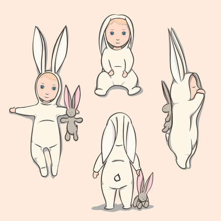 rabbit standing: Baby in a rabbit suit with a plush toy. Four poses.  Sleeping positions, on back, sitting and standing.