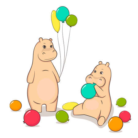 inflated: Hippos inflated balloons. Colored balloons. Isolated white background.
