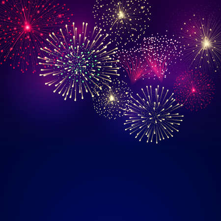 Vector background with festive colorful fireworks. File contains clipping mask. Иллюстрация