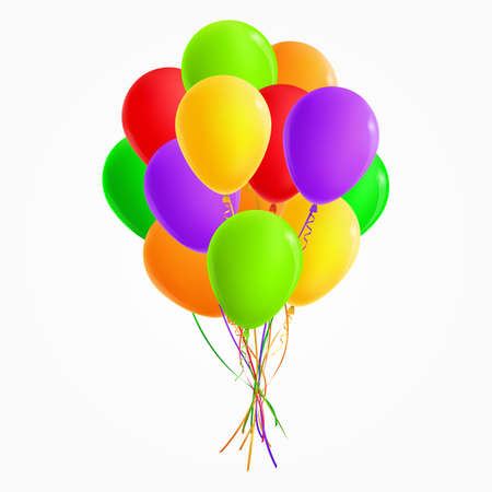balloons green: Realistic colored bunch of balloons (green, yellow, orange, red, purple). For Party and Celebrations. Isolated from the background.