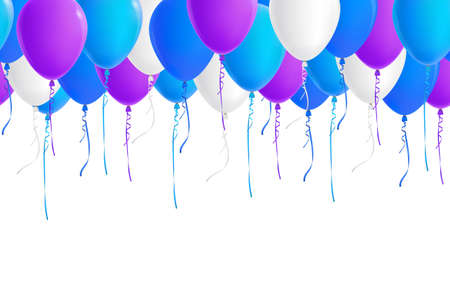 blue party: Vector seamless border of realistic colorful balloons (blue, sky blue, white, purple). Isolated from background. File contains clipping mask and gradient mesh.