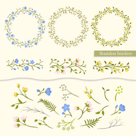 pink floral: Vector set vintage floral elements - wreaths, seamless borders and individual elements (leaves, branches, flowers). For design wedding card and invitation.