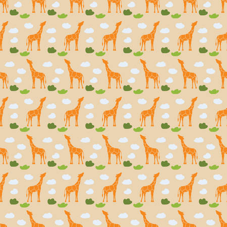 bush babies: Vector seamless pattern with a giraffe and clouds. Childish background.