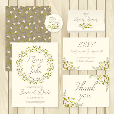 response: Vector set of vintage floral wedding templates - invitation, card response, save the date, thank you and label.