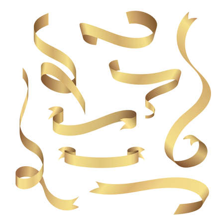 Set of shiny gold ribbons on isolated white background. Vector elements for decoration.