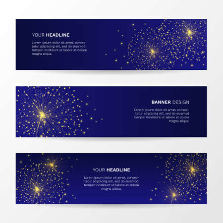 Vector background with sparkling magic gold fireworks. Set of abstract horizontal banners.