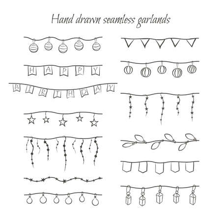 holiday garland: Hand drawn seamless borders. Vector set of holiday garlands (flags, lamps, lightbulbs, stars) for decorations.