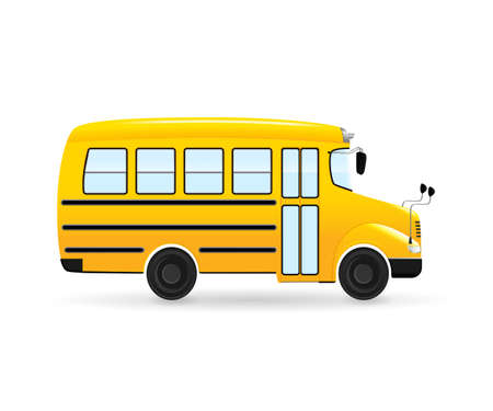yellow schoolbus: Vector cartoon school bus. Isolated from the white background.