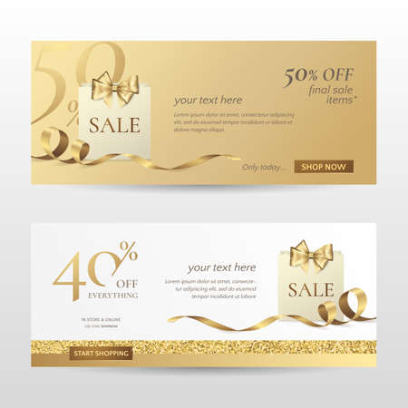 Set of stylish horizontal banners with paper shopping bag, golden bow and ribbon. Vector templates for promotion design on the website with gold and white background. Isolated from the background. Иллюстрация