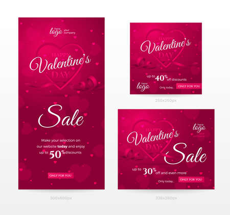 Set of stylish sale banners of different sizes for Happy Valentines day with frame of shaped heart, ribbon and confetti. Romantic template for discount offer. Vector pink background with hearts.